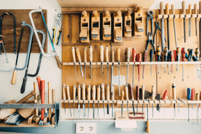 A tool wall in a workshop