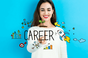 Women smiling with an overlay with cartoon images surrounding the word career