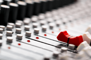 A music mixing desk.