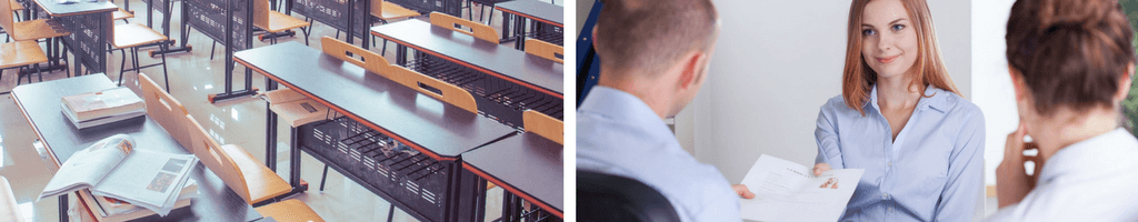 Two pictures side by side showing a classroom for students on the left side separated by a white line while the image on the right is of a young job seeker going to an interview.