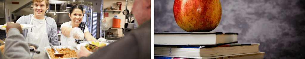 Two separate images showing two people volunteering in a shelter before white line in the middle separating a photo of books with an Apple on top.