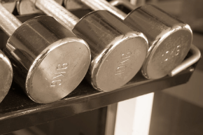 Close up of some fitness dumbbells