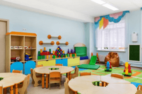 Classroom filled with children's toys and books